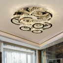 Modern Tiered Circle Ceiling Fixture Clear Crystal Living Room Small/Medium/Large LED Flush Mount Light