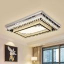 Rectangle Carved Ceiling Lamp Contemporary Cut Crystal Living Room LED Flush Mount Light in Clear