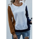 Leisure Girls Colorblock Long Sleeve Crew-neck Loose Fitted Pullover Sweatshirt