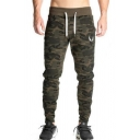 Chic Mens Gym Pants Camo Pattern Contrast Trim Side Pocket Drawstring Waist Full Length Trousers