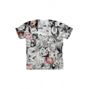 Ahegao 3D Comic Anime Girl Pattern Short Sleeve Summer T-Shirt