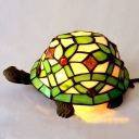 Green Turtle Night Table Light Mediterranean 1 Bulb Hand-Crafted Glass Nightstand Lamp