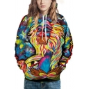 Blue-yellow Hoodie Oil Painting Cartoon 3D Pattern Long Sleeve Drawstring Relaxed Cool Hoodie for Men