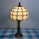 Grid Glass Bowl/Bell/Dome Table Light Tiffany Single Red/Pink/Blue Nightstand Lamp with Plug-in Cord