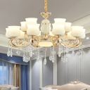 Frosted Glass White Hanging Light Jar Shaped 6/8/15 Bulbs Traditional Chandelier with Crystal Deco