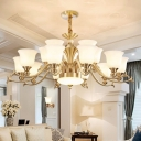 Carillon Living Room Ceiling Pendant Frosted White Glass 6/8/10-Light Modern Chandelier in Brass