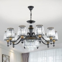3/6/8 Lights Suspension Lamp Retro Living Room Chandelier with Tapered Clear Prismatic Crystal Shade in Black