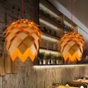 Art Deco Pinecone Pendant Lamp Wooden 1 Bulb Restaurant Hanging Light Fixture, Small/Medium/Large
