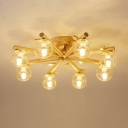 Clear Glass Ball Close to Ceiling Lamp Modern 3/5/8-Head Wood Semi Flush Light with Carved Leaf Deco