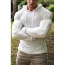 Stylish Men's Tee Top Plain Drawstring Hooded Long Sleeves Regular Fitted T-Shirt