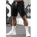 Fancy Mens Shorts Solid Color Split Hem Drawstring Elastic Waist Side Pocket Slim Fitted Shorts