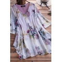 Fancy Women's Blouse Floral Pattern Button Front V Neck Long Sleeves Pleated Asymmetrical Hem Relaxed Fit Pullover Blouse