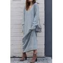 Leisure Ladies Dress Plain Long Sleeve Deep V-neck Maxi Oversize Dress