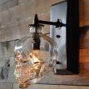 Skull Shaped Wall Light Fixture Decorative Clear Glass Single Black Wall Sconce Lighting
