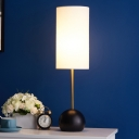 Creative Simple Single Night Lamp Flaxen/White Column Table Light with Fabric Shade and Dome Base