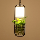 Black Rectangle Ceiling Pendant Nordic Iron 1 Head Dining Room Hanging Light with Fabric Shade and Clear Glass Plant Pot