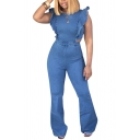 Fashion Womens Plain Jumpsuit Ruffled Sleeveless Crew Neck Long Flared Denim Jumpsuit