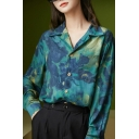 Fancy Women's Shirt Blouse Chest Pocket All over Print Spread Collar Button Closure Long Sleeves Regular Fitted Shirt Blouse