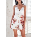 Pretty Romper Lace Patched Floral Print Deep V-neck Relaxed Fit Cami Romper in White-pink