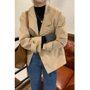 Fancy Women's Trench Coat Solid Color Zip Fly Side Pocket Notched Lapel Collar Buckle Long Sleeves Regular Fitted Trench Coat