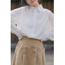Womens Shirt Solid Color Long Sleeve Point Collar Button Up Loose Fit Leisure Shirt Top