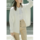 Casual Shirt Solid Color Long Sleeve Spread Collar Button Up Relaxed White Shirt for Girls