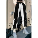 Fancy Women's Pants Color Block Contrast Panel Drawstring Hooded Waist Side Pocket Ankle Length Straight Pants