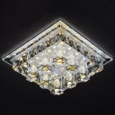 Purple/Coffee Square Flushmount Ceiling Lamp Modernism Crystal LED Flush Mount Spotlight in Warm/White Light/Third Gear