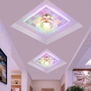 3/5w Square Flush Mount Lighting Contemporary Clear Crystal Foyer LED Ceiling Light in Warm/White/Multi-Color Light