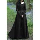 Ladies Medieval Dress Long Sleeve V-neck Tied Waist Plain Maxi A-line Dress
