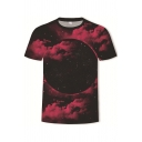 Fancy Men's Tee Top Space Galaxy 3D Pattern Round Neck Short Sleeves Regular Fitted T-Shirt