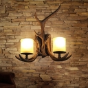 2-Bulb Resin Wall Sconce Rural Brown Antler Living Room Wall Lighting with Frost Glass Shade
