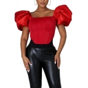 Fancy Women's Shirt Blouse Solid Color Short Puff Sleeves Satin Slim Fitted Shirt Blouse