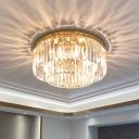 Gold Round Flush Ceiling Light Post-Modern 6/8/10 Bulbs K9 Prismatic Crystal Flush Mount, 12