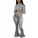 Chic Womens Set Solid Color Long Sleeve Drawstring Fit Hoodie & Flared Pants Co-ords