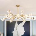 Clear Crystal Gemstone Pendant Lighting Modern 12/15/18-Bulb Gold Chandelier Lamp for Living Room