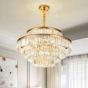 Circular Hanging Light Fixture Postmodern Luxe Crystal Prism 14/20/22-Head Gold Chandelier Pendant, 21.5