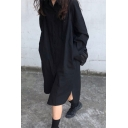 Fancy Women's Shirt Dress Solid Color Button Fly Side Split Chest Pocket Turn-down Collar Long Sleeves Relaxed Fit Shirt Dress