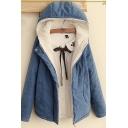 Leisure Women's Coat Quilted Flap Pocket Zip Closure Long Sleeves Hooded Coast