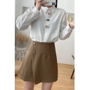 Fancy Women's Shirt Blouse Button Closure Cartoon Embroidered Turn-down Collar Long Sleeves Regular Fitted Shirt Blouse