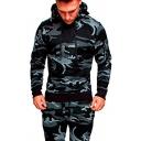 Trendy Men's Hoodie Camo Space Dye Pattern Side Zip Pocket Contrast Trim Long Sleeves Drawstring Regular Fitted Hooded Sweatshirt