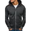 Trendy Mens Hoodie Heathered Contrast Panel Side Pocket Long Sleeves Zip Placket Regular Fitted Drawstring Hooded Sweatshirt