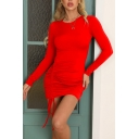 Fancy Women's Bodycon Dress Solid Color Ruched Detail Round Neck Long Sleeves Slim Fitted Short Bodycon Dress