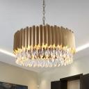Drum Living Room Ceiling Pendant Modern Crystal Teardrop Black/Gold LED Chandelier Light, 23.5