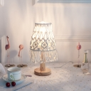 Conical Girls Room Table Lamp Bohemia Fiber Rope 1 Head Yellow Nightstand Light with Fringe