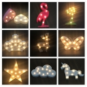 Christmas Tree/Unicorn/Butterfly Night Lamp Kids Style Plastic Bedside Mini LED Wall Night Lighting in White/Pink/Green