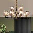 1/2-Tiered Cylindrical Crystal Pendant Modern 4/8/12 Heads Living Room Chandelier in Black and Brass