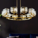 Antiqued Gold Circle Chandelier Postmodern Crystal Rectangle 4/6/8-Bulb Bedroom Ceiling Suspension Lamp