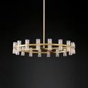 Brass 24 Lights Chandelier Postmodern Crystal Tube Hanging Pendant Light for Living Room
