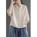 Fancy Women's Shirt Blouse Floral Embroidered Button Detail V Neck Mock Neck Half Sleeves Regular Fitted Pullover Shirt Blouse